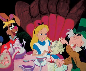 alice in wonderland, cake, and tea time image