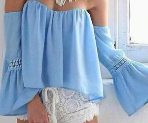 blue, girly, and off the shoulder image