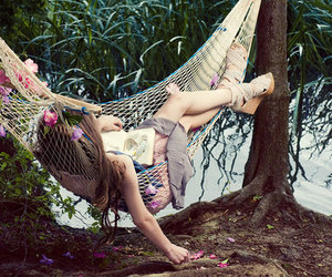 girl, flowers, and hammock image