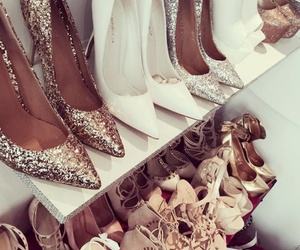 glitter, gold, and heels image