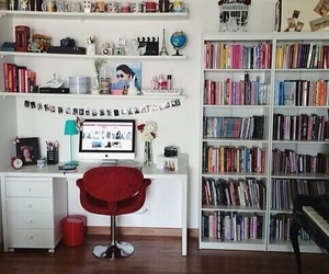 room, book, and home image