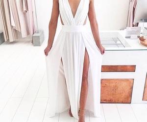 dress, white, and maxi dress image