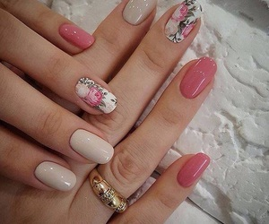 nails, pink, and flowers image