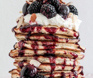 food, pancakes, and cream image