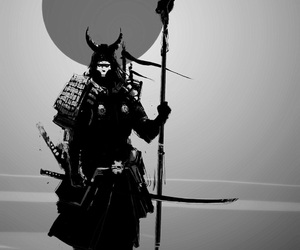 black and white, manga, and samurai image