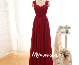 chiffon, wine red, and bridesmaid dress image