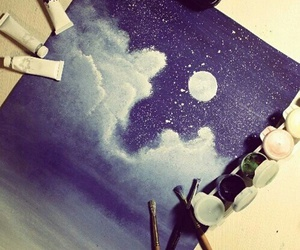art, stars, and clouds image