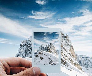 polaroid and mountains image