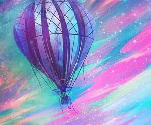 drawing, hot air balloon, and rainbow image