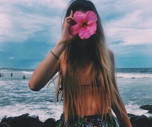 flowers, girl, and beach image