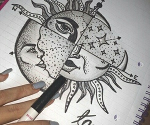 draw, moon, and sun image