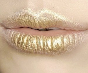 lips, gold, and makeup image