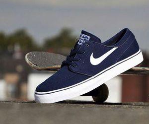 blue, nike, and skateboarding image