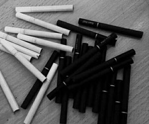 cigarette, black, and smoke image