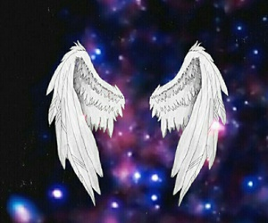 angel, galaxy, and wings image