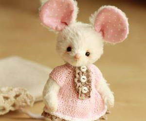 mouse, pink, and stuffed toy image