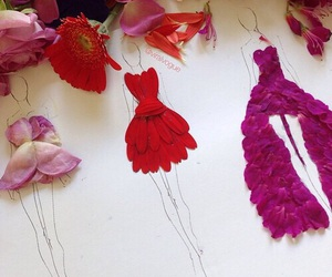 dress, flowers, and art image