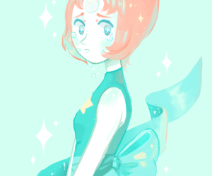 art, pearl, and steven universe image