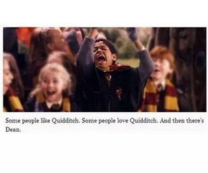 harry potter, dean, and quidditch image