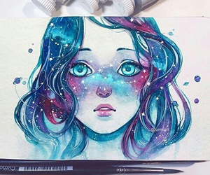 art, blue, and draw image