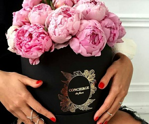 pink flowers, stunning, and red nails image