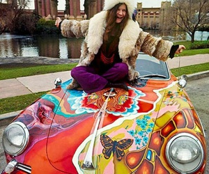 janis joplin, hippie, and car image