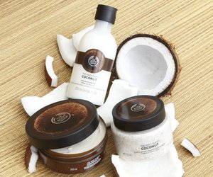 body care, thebodyshop, and coconut image