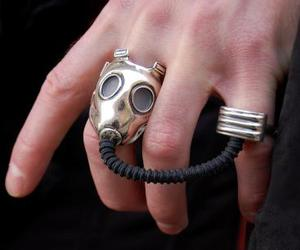 gas mask, ring, and steampunk image