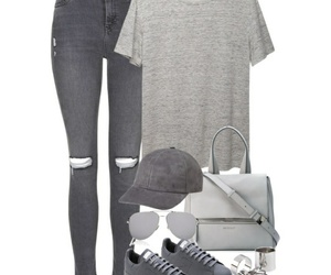 grey, jean, and outfit image