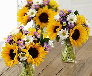 bouquet, sunflowers, and flowers image