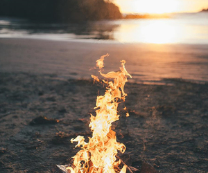 fire, beach, and bonfire image