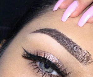 beauty, eyebrows, and pink image