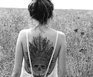 tattoo, girl, and skull image