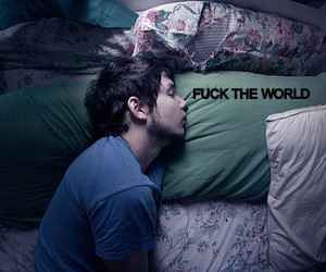 bed, boy, and Fuck The World image