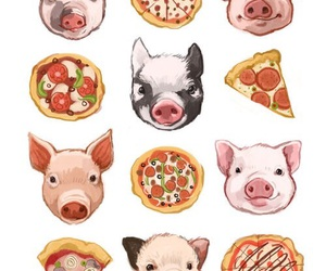 food, pig, and pizza image