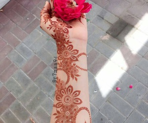 hands, rose, and mehendi image