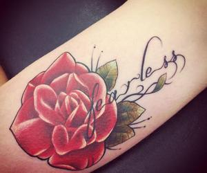 fearless, flower tattoo, and red rose image
