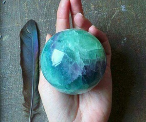 blue, feather, and crystal image