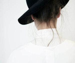 black, hat, and white image