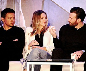 chris evans, elizabeth olsen, and jeremy renner image