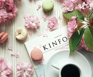 coffee, pastel, and macarons image
