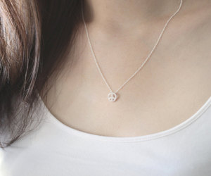 etsy, peace sign necklace, and delicate necklace image
