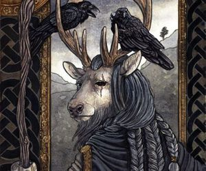 raven, stag, and odin image