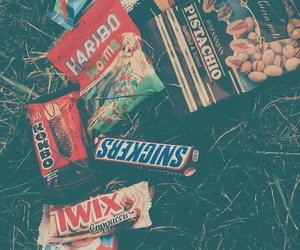 food, kinder, and snickers image