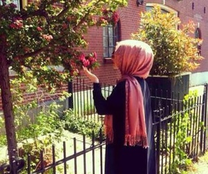 hijab, girl, and flowers image