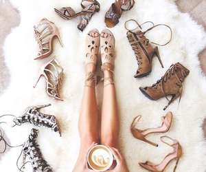 shoes, coffee, and heels image