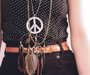 fashion, peace, and necklace image