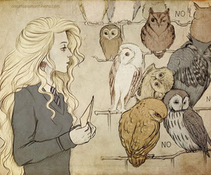 harry potter, luna lovegood, and owl image