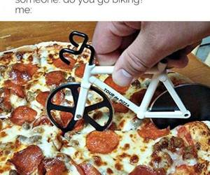 funny, pizza, and bike image