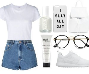 backpack, white, and glasses image